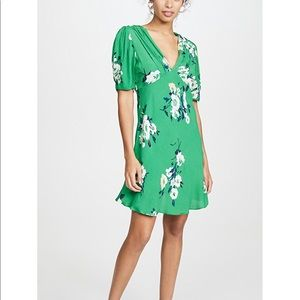 Free People | Green Neon Garden Floral Mini Dress
